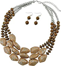 Bocar Multi Layer Necklace for Women Beads Statement Chunky Necklace and Earring Set