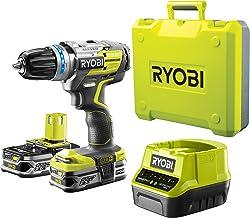 Ryobi R18DDBL-225B - Taladro percutor con batería, color amarillo