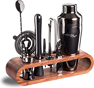Mixology Bartender Kit: 10-Piece Black Bar Set Cocktail Shaker Set with Stylish Mahogany Stand | Perfect Home Bartending Kit with Gun Metal Bar Tools and Martini Shaker for Foolproof Drink Mixing
