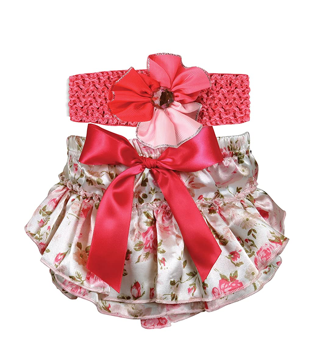 Stephan Baby Ruffled Diaper Cover and Flower Headband Gift Set, Pink Roses, 6-12 Months