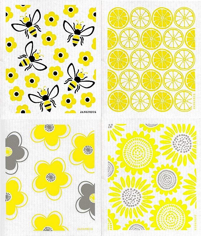 Jangneus Swedish Dishcloths Sponge Cloths Packs Of 3 OR 4 Different Yellow Designs 4 Yellow Summertime Bees Flowers Citrus Sunflowers