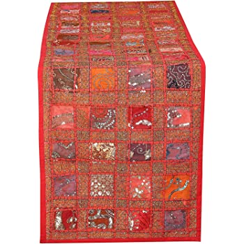 Colorful Red Hand Embroidered Cotton Table Runner - Patchwork Boho Bohemian Room Decor Indian Wedding Reception Party Decorative Placemat for Dinning Table 16 X 72 Inch