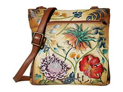 Anuschka Handbags 651 Crossbody with Front RFID Built in Wallet (Caribbean Garden) Cross Body Handbags