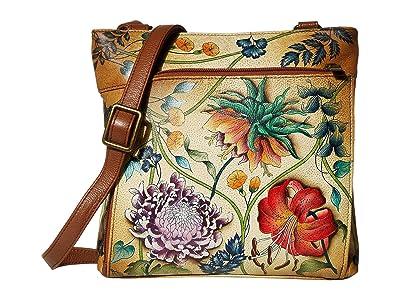 Anuschka Handbags Crossbody with Front RFID Built in Wallet 651 (Caribbean Garden) Cross Body Handbags