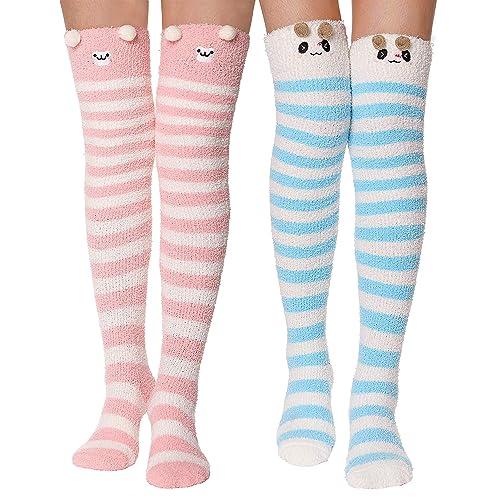 24b7ad81dfe Girls Womens Over Knee High Socks Stockings Fluffy Soft Warm Cute Cozy  Winter Long Christmas Socks