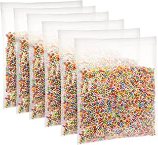 Peachy Keen Crafts 6 Bags Styrofoam Beads for DIY Floam Slime - Rainbow Foam Balls for Crafting - Bulk Pack