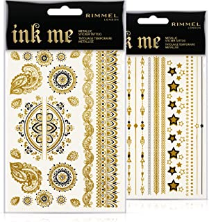 Rimmel London, Ink Me Metallic Sticker tattoos, Temporary transfer tattoos, Metallic Gold and black finish, 2 sheets