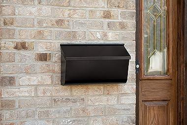 Gibraltar Mailboxes Woodlands Medium Capacity Galvanized Steel Black, Wall-Mount Mailbox, L4010WB0,Textured Black