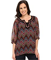 Roper - 9905 Aztec Printed Georgette Peasant Top