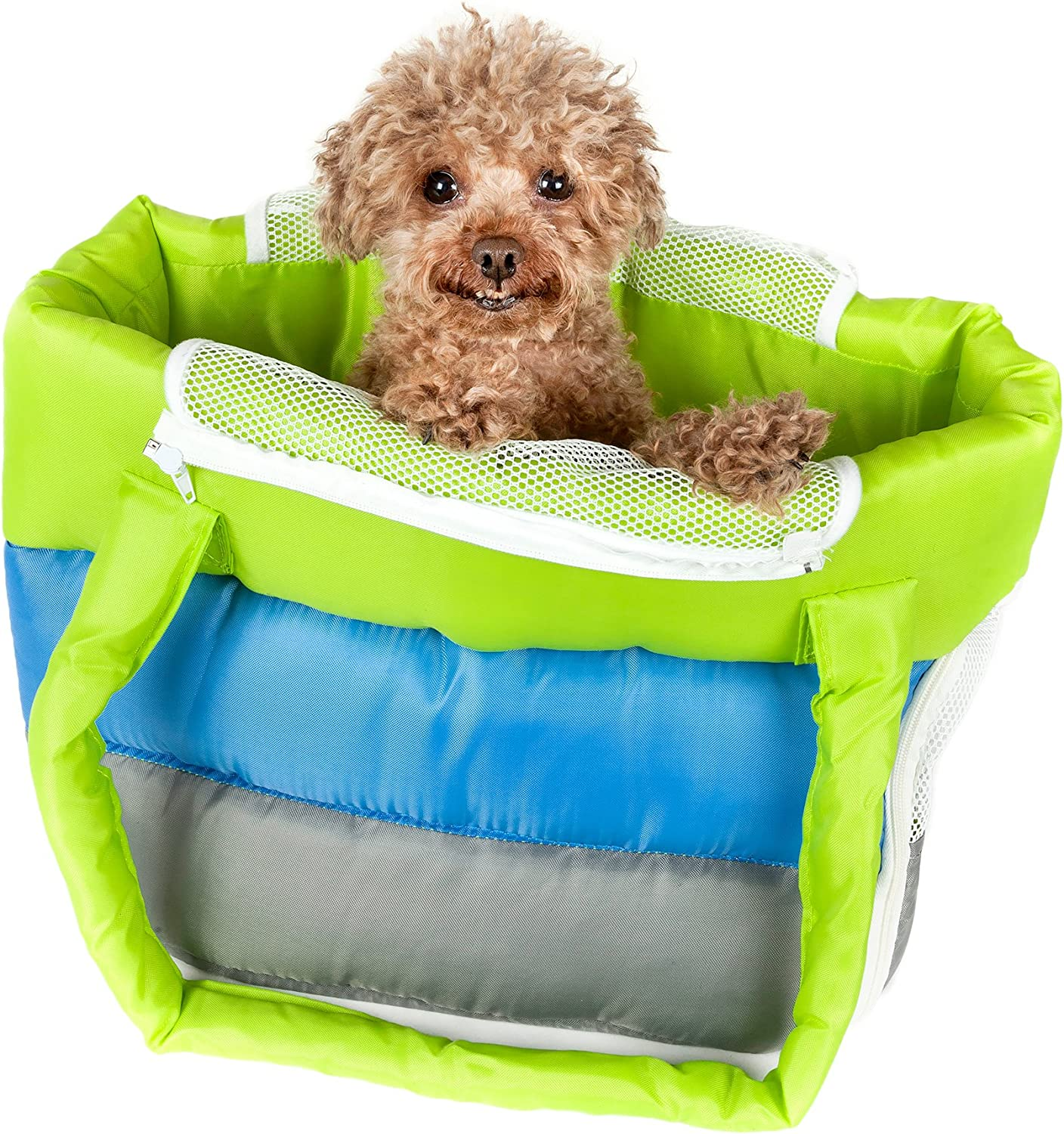 PET LIFE 'BubblePoly' Tricolord Winter Insulated Fashion Designer Pet Dog Carrier, One Size, Green, bluee, Grey