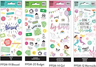 me & My Big Ideas The Happy Planner Tiny Sticker Pad Value Pack: Mermaids, Girl, Blessed, Budget.Set of 4