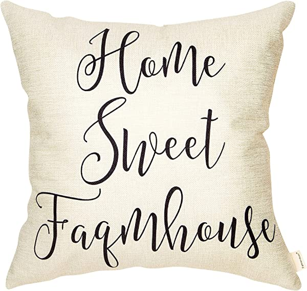 Fahrendom Rustic Home Sweet Farmhouse Fall D Cor Farm Quote Cotton Linen Home Decorative Throw Pillow Case Cushion Cover With Words For Sofa Couch 18 X 18 In