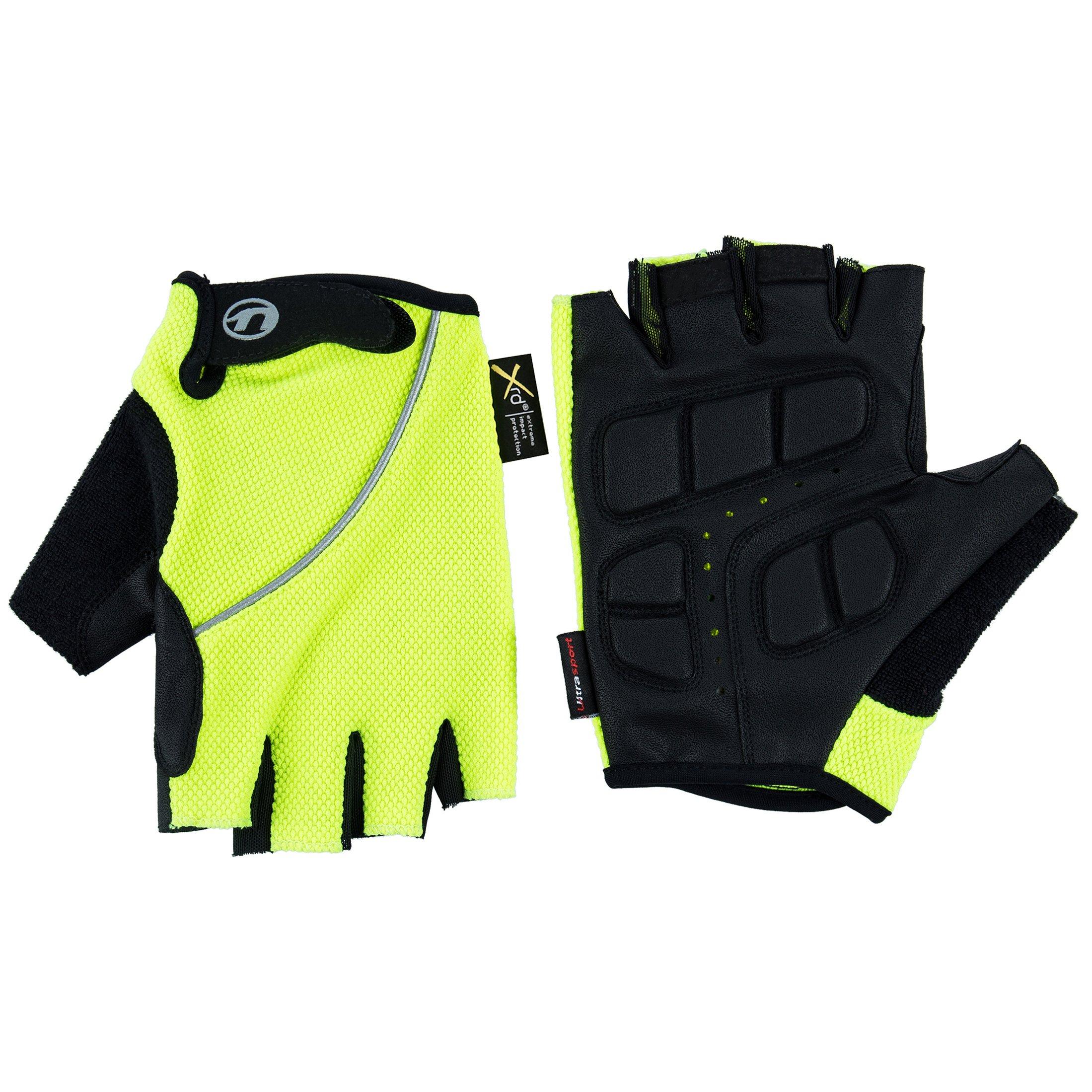 Ultrasport Herren Basic Laslo Halbfinger-Handschuhe, neon gelb, L