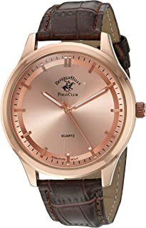 Men's Beverly Hills Polo Club Analog-Quartz Watch with Leather-Synthetic Strap, Brown, 20 (Model: 52961)