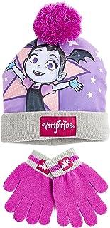 Disney Vampirina Guantes y Gorro Set de 2 Piezas Para Niña Rosa, Gorros de Invierno Para Niños Con Pompon Talla Unica, Reg...