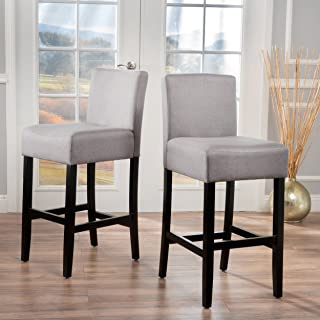Christopher Knight Home Lopez Light Grey Fabric Barstools (Set of 2)