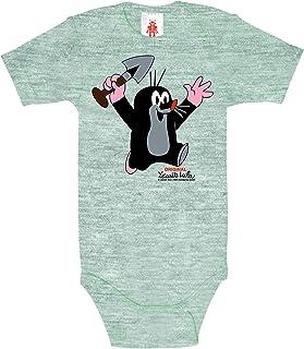Logoshirt - Der kleine Maulwurf - Schaufel - Juhu - Baby Body - Strampler - grau-meliert - Lizenziertes Originaldesign