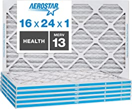 Aerostar Home Max 16x24x1 MERV 13 Pleated Air Filter, Made in the USA, 6-Pack