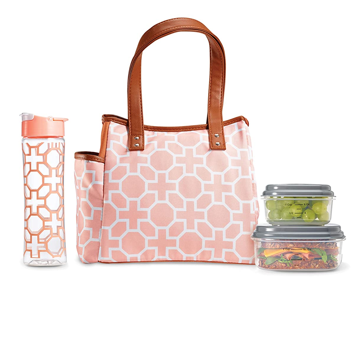 Fit & Fresh Insulated Lunch Bag Cooler Bag Tote Bag Kit for Women/Work/Picnic/Beach, Reusable Containers, Water Bottle, Westerly, Classic Trellis Blush