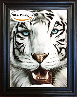 White Tiger 3D Poster Wall Art Decor Framed Print | 14.5x18.5 | Lenticular Posters & Pictures | Memorabilia Gifts for Guys & Girls Bedroom | Wild Black & White Jungle Cat Home Decorations & Artwork