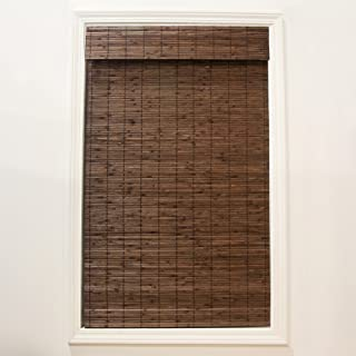 RADIANCE Cordless Cocoa Dockside Flatstick Bamboo Roman Shade, 34 in. W x 64 in. L