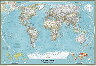 """National Geographic French World Wall Map, Carte du Monde en Francais - 43.75"""" x 30.5"""" - Paper Rolled"""