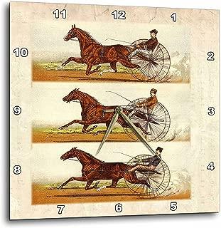 3dRose dpp_80692_3 Collage of 3 Vintage Drawings of Horses N Jockeys Racing Wall Clock, 15 by 15-Inch