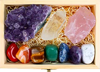 Premium Crystals and Healing Stones in Wooden Display Box - 7 Tumbled Chakra Stones, Amethyst Crystal, Rose Quartz, Quartz Crystal Point + Guide & Instructions - Gift Kit