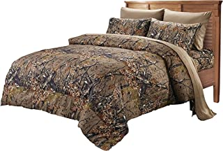 Ben&Jonah The Woods 7 Piece Natural Camo Reversible Comforter Set-Queen Size (86