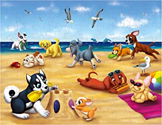 Floor Puzzles for Kids - 100-Piece Giant Floor Puzzle, Puppies on The Beach Jumbo Jigsaw Puzzles for Toddlers Preschool, Toy Puzzles for Kids Ages 3-5, 2 x 3 Feet