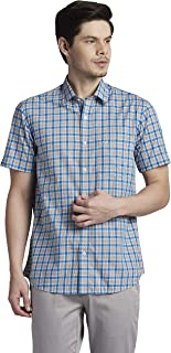 Colorplus Checkered Medium Blue Coloured Cotton Shirts