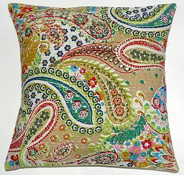 Radhy Krishna Fashions Indian 16X16 Mirror Embroidered Decorative Sofa Throw Pillow Cushion Cover Boho Bohemia Beige Paisely
