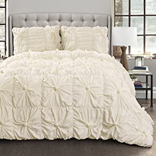 Lush Decor Bella Comforter Set Shabby Chic Style Ruched 3 Piece Bedding with Pillow Shams-Full Queen-Ivory