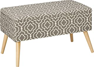 Otto & Ben Mid Century Ottoman with EASY LIFT Top, Upholstered Shoe Ottomans Seats for Entryway and Bedroom, Moroccan Grey