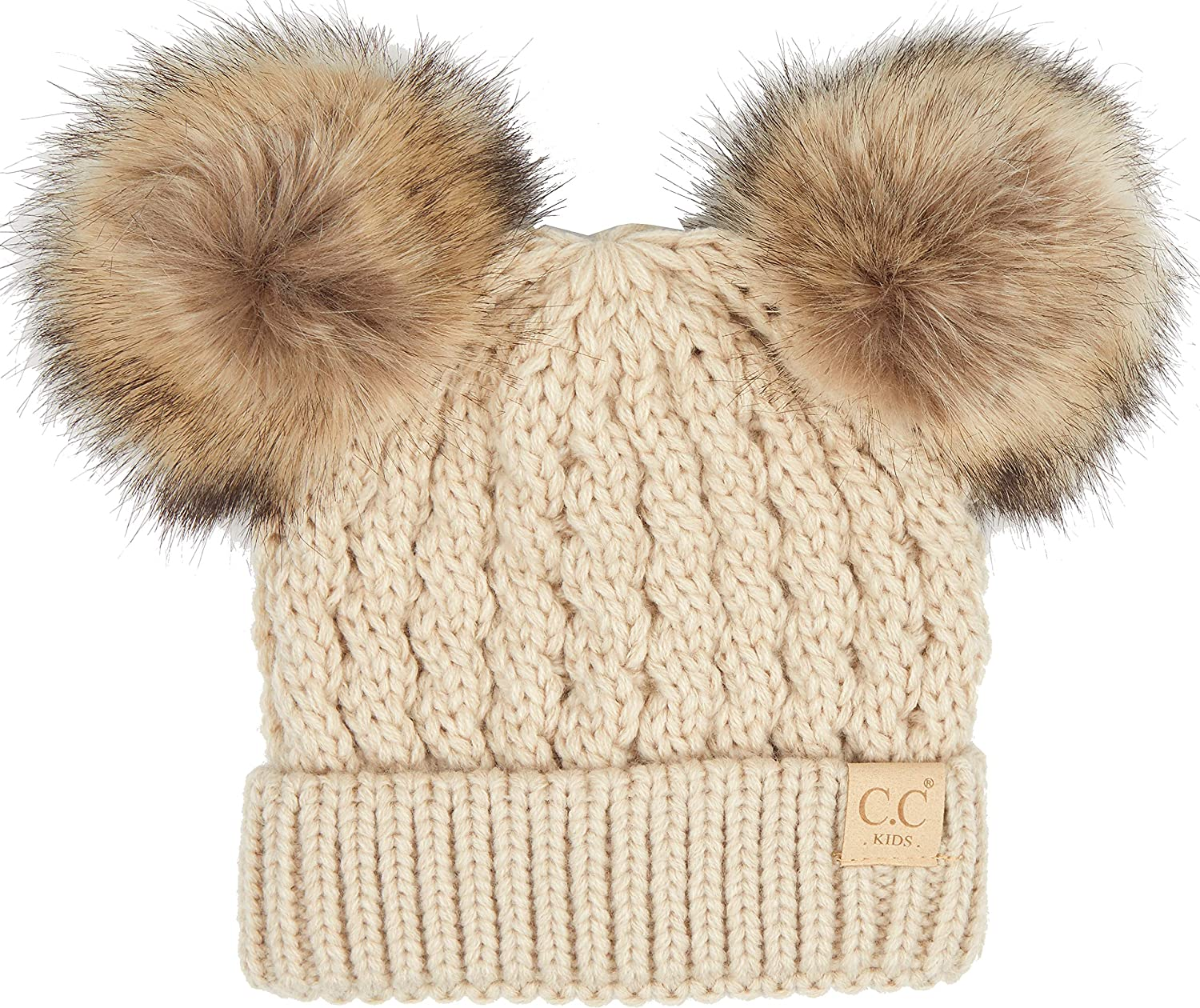 Funky Junque Girls Hat Kids Beanie Faux Fur Pom Over item handling ☆ Warm Soft Limited time trial price Double