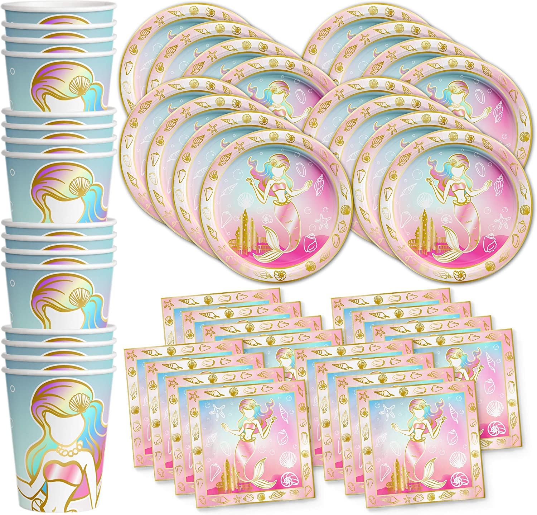 Birthday Galore gold Mermaid Princess Birthday Party Supplies Set Plates Napkins Cups Tableware Kit for 16