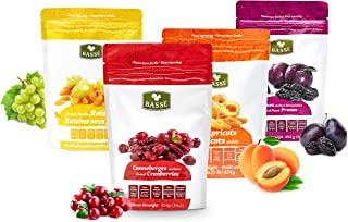 Dried Fruit Variety Pack with Prunes, Apricots, Golden Raisins and Craisins from Basse - Delicious Sweet Pitted Prunes, Dried Apricots, Jumbo Raisins, Dried Cranberries 4 Bags (1 Pack)