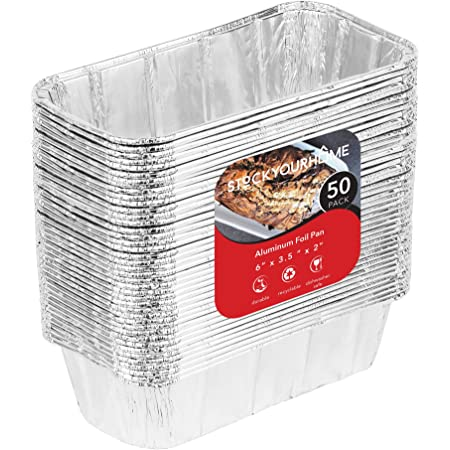 Dobi Mini Loaf Baking Pans 50 Pack Disposable Aluminum Foil 1Lb Small Bread