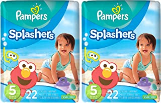 Pampers Splashers Disposable Swim Diapers, Size 5, 22 Count, JUMBO (Pack of 2)