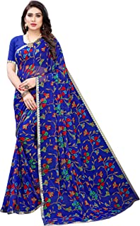 GoSriKi Women's Chiffon Printed Saree with Blouse Piece