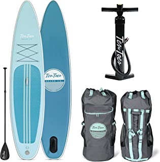 Retrospec Weekender-Tour 11ft Inflatable Stand Up Paddleboard Triple Layer Military Grade PVC iSUP Bundle w/ paddle board carrying case, aluminum paddle, removable nylon fins, pump & cell phone case