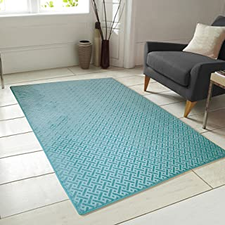 Chesapeake Memory Foam Geo Block Pattern Aqua Accent Rug (48'' x 66'')