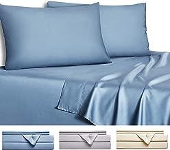 Gokotta Bamboo Sheets Queen - 100% Bamboo Sheets, Soft Bedding Set, 4 Piece Bed Sheet Set (Blue, Queen)