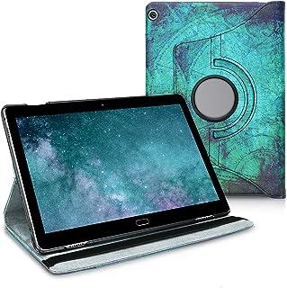 kwmobile Hülle kompatibel mit Huawei MediaPad M3 Lite 10 360° Tablet Schutzhülle Cover Case   Anker Landkarte Weiß Blau
