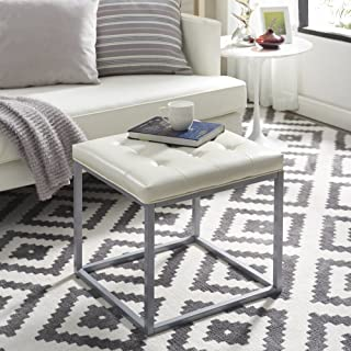 Inspired Home Newton Cream White Leather Ottoman - Metal Frame | Button Tufted | Modern & Contemporary 1 pc ONLY