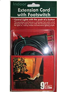 Dobar 9 Foot Christmas Extension Cord with On/Off Foot Switch - UL Listed (Green)