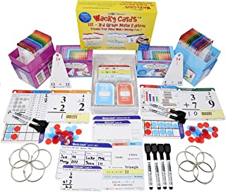 Think2Master Addition, Subtraction Flash Cards & 1st - 3rd Grade Wacky Cards. This 3 Pack Includes 820 Laminated Cards to Learn How to add, Subtract, Multiplication. 8 Dry Erase Markers and 10 Rings