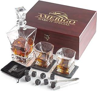 Amerigo Luxury Whiskey Stones Gift Set - Whiskey Decanter Set + 2 Whiskey Glasses + 8 Reusable Ice Cubes & 2 Slate Coasters - Whisky Gifts for Men Whiskey Rocks + Ice Tongs