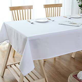 Lespoir White Water Resistant Spill-Proof Tablecloth Table Cloths for Parties for Dinner Room White Table Cloth Rectangle Table Cloth Polyester 54x102 Inch