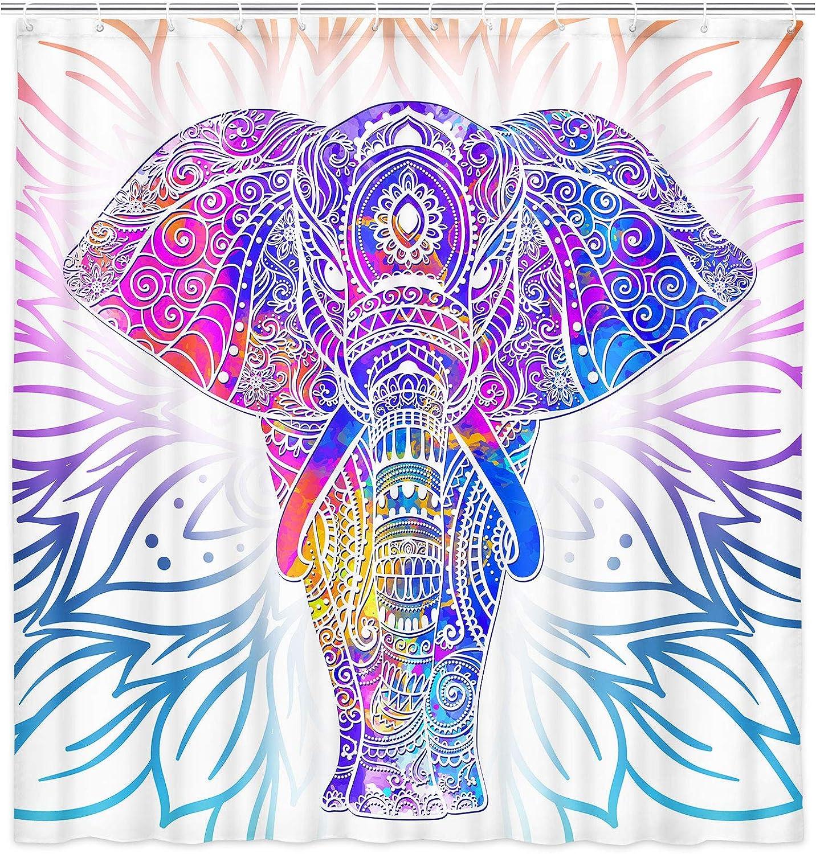 Mandala Elephant Shower Curtain Bohemian Art, Boho Elephant Shower Curtain Colorful, Ethnic Elephant Bath Curtain Modern Cool Pattern Elephant Bathroom Decor Sets with Hooks 69x70 Inches